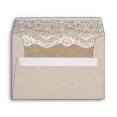 Rustic Country Burlap Elegant Lace Wedding 5x7 Envelope at Zazzle