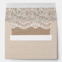 Rustic Country Burlap Elegant Lace Wedding 5x7 Envelope