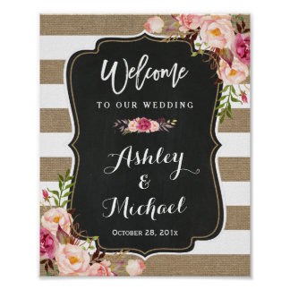 Rustic Country Burlap Floral Wedding Welcome Sign Poster