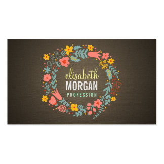 Rustic Country Burlap Floral Wreath Double-Sided Standard Business Cards (Pack Of 100)