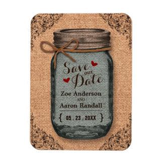Rustic Country Burlap Jar Vintage Save the Date Rectangular Photo Magnet