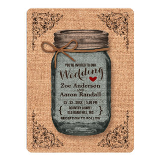 Rustic Country Burlap Jar Vintage Wedding Card