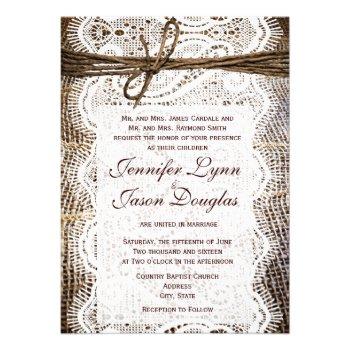 Rustic Country Burlap Lace Look Wedding Invitation