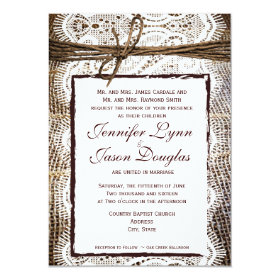 Rustic Country Burlap Lace Look Wedding Invitation