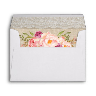 Rustic Country Burlap Lace Pink Floral Wedding Envelope