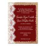 "Rustic Country Burlap Lace Red Wedding Invitations 5"" X 7"" Invitation Card"