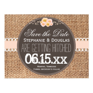 Rustic Country Burlap Lace Save the Date Postcards