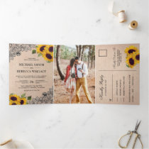 Rustic Country Burlap Lace Sunflower Wedding Photo Tri-Fold Invitation