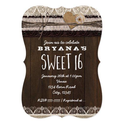 rustic country burlap  u0026 lace sweet 16 invitation