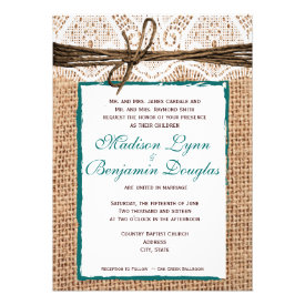 Rustic Country Burlap Lace Teal Wedding Invitation