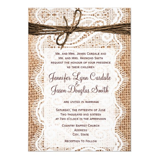 Burlap wedding invitation with lace and twine