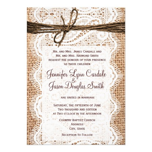 Rustic Country Burlap Lace Twine Wedding Invites Personalized Announcement