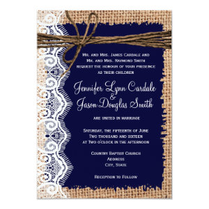 Rustic Country Burlap Lace Twine Wedding Invites 5
