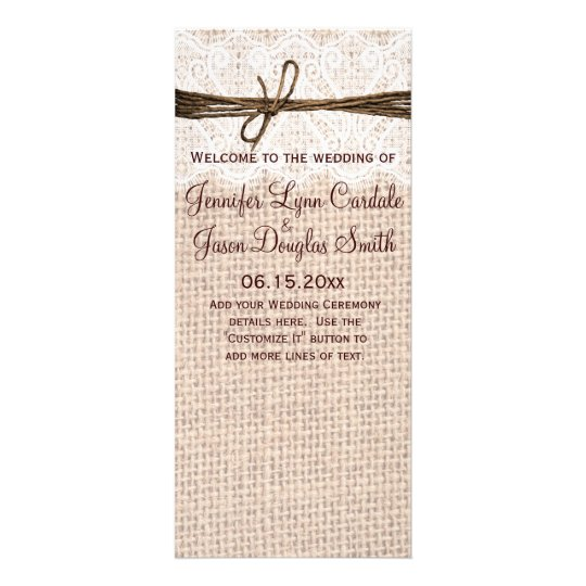 Rustic Country Burlap Lace Twine Wedding Program