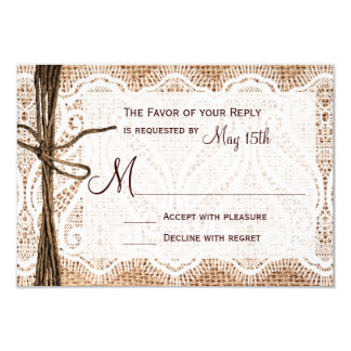 Rustic Country Burlap Lace Twine Wedding RSVP Card