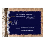 "Rustic Country Burlap Lace Twine Wedding RSVP 3.5"" X 5"" Invitation Card"