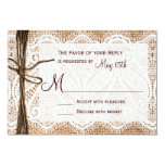Rustic Country Burlap Lace Twine Wedding RSVP Custom Invitations