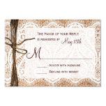 Rustic Country Burlap Lace Twine Wedding RSVP Custom Invitations