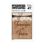 Rustic Country Burlap Lace Twine Wedding Stamps