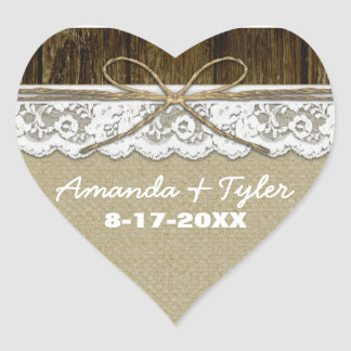 Rustic Country Burlap Lace Wedding Favor Stickers