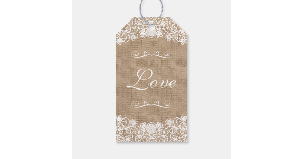 Rustic Wedding Gift Tags : Rustic Country Burlap Lace Wedding Gift Tags Zazzle