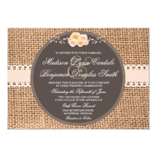 Rustic Country Burlap Lace Wedding Invitations