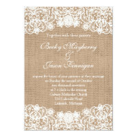 Rustic Country Burlap Lace Wedding Invites