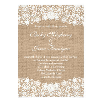 burlap and lace wedding invitations & announcements | zazzle, Wedding invitations