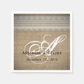 Rustic Country Burlap Lace Wedding Monogram Napkin