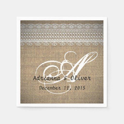Rustic Wedding Napkins: Rustic Country Burlap Lace Wedding Monogram Paper Napkin