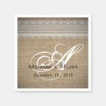 Rustic Country Burlap Lace Wedding Monogram Paper Napkin
