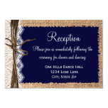 "Rustic Country Burlap Lace Wedding Reception Cards 3.5"" X 5"" Invitation Card"