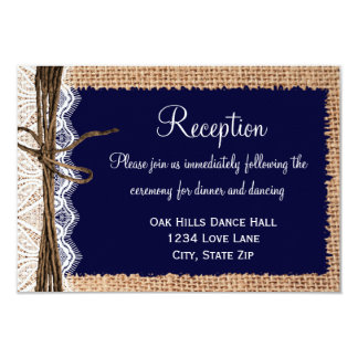Rustic Country Burlap Lace Wedding Reception Cards Announcements