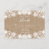 Rustic Country Burlap Lace Wedding RSVP
