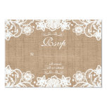 Rustic Country Burlap Lace Wedding RSVP Card