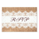 Rustic Country Burlap Lace Wedding RSVP Cards Personalized Announcement