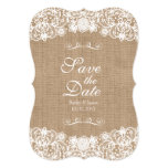 Rustic Country Burlap Lace Wedding Save-The-Date Card