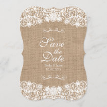 Rustic Country Burlap Lace Wedding Save-The-Date Save The Date