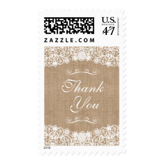 Rustic Country Burlap Lace Wedding Thank You Postage