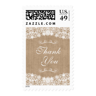 Rustic Country Burlap Lace Wedding Thank You Postage Stamps
