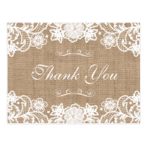 Rustic Country Burlap Lace Wedding Thank You Postcard