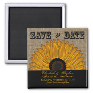 Rustic Country Burlap Look Sunflower Save the Date 2 Inch Square Magnet