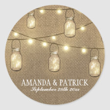 Rustic Country Burlap Mason Jar Wedding Favors Stickers