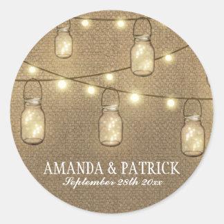 Rustic Country Burlap Mason Jar Wedding Favors Classic Round Sticker