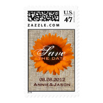 Rustic Country burlap orange Sunflower wedding Postage