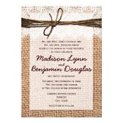 Rustic Country Burlap Print Wedding Invitations