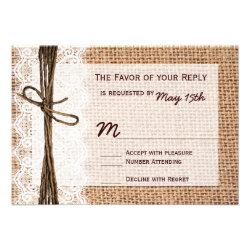 Rustic Country Burlap Print Wedding RSVP Cards