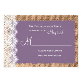 Rustic Country Burlap Purple RSVP Cards
