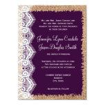 Rustic Country Burlap Purple Wedding Invitations Custom Invites