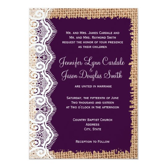 Burlap Invitations Wedding: Rustic Country Burlap Purple Wedding Invitations